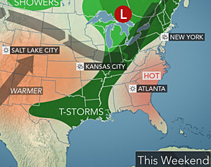 Southeast hot, Newton to graze Texas and Oklahoma with downpours