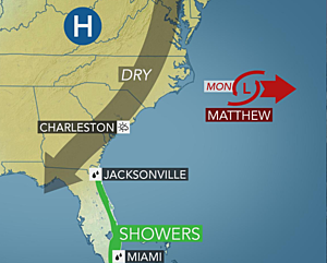 Matthew gone, a mostly quiet week ahead