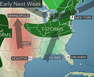 Extreme heat headed to Texas and Oklahoma, much of the Southeast stormy and muggy