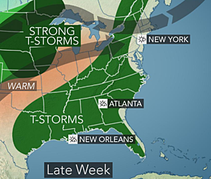 Soaking rains shift north, Southeast heat to get squeezed