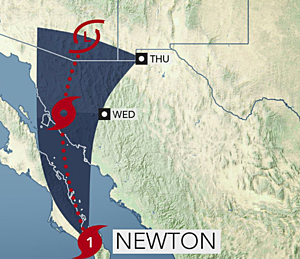 Newton moisture surging north, Southeast mostly hot and dry