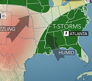 Fronts keep pushing into the Southeast, serious Plains heat next week