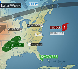 Generally quiet Southeast, unsettled southern Plains, Nicole to Bermuda
