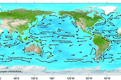 pacific ocean currents  Map of Pacific Ocean