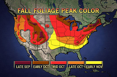 fall foliage map 2012 new york: Typical peaks in fall foliage