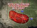 Storms for Northern, Western Texas Monday Night