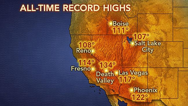 Image d'illustration pour Records de chaleur aux Etats Unis