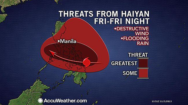 Image d'illustration pour Typhon Haiyan - forte menace pour les Philippines