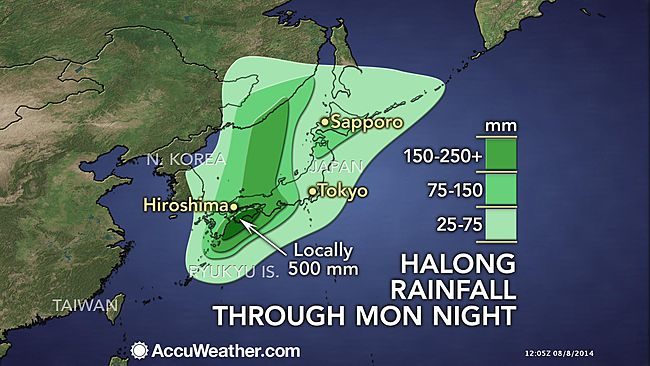 Typhoon Halong rainfall forecast from Accuweather