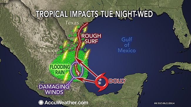 Tropical storm Dolly impact forecast map