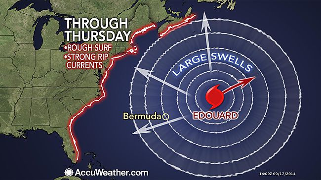 Edouard to Send Rough Surf to US East Coast
