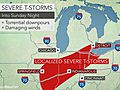 Severe storms to strike Midwest with soaking rain, gusty winds into Sunday evening