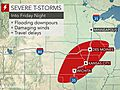Severe storms to spark damaging winds across central US into Friday night