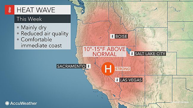 Oppressive heat to envelop the western US as weekend highs soar 10 to 15 degrees Fahrenheit above average