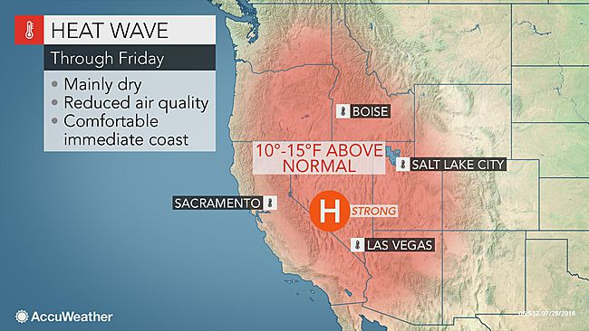 Oppressive heat to envelop western US as late-week highs soar 10 to 15 degrees Fahrenheit above average