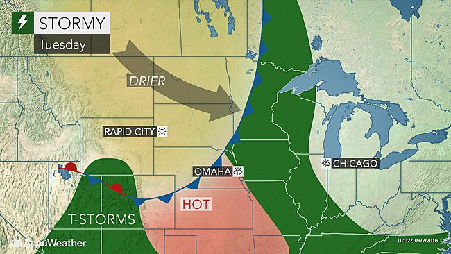 Gusty storms to threaten midwestern US through midweek
