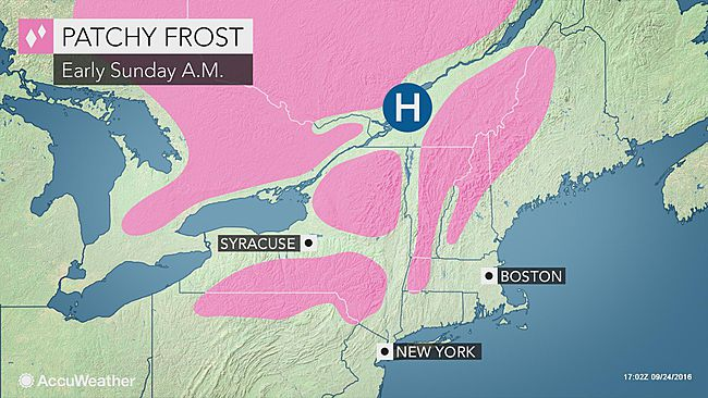 Crisp fall air to bring first frost of season to parts of northeastern US