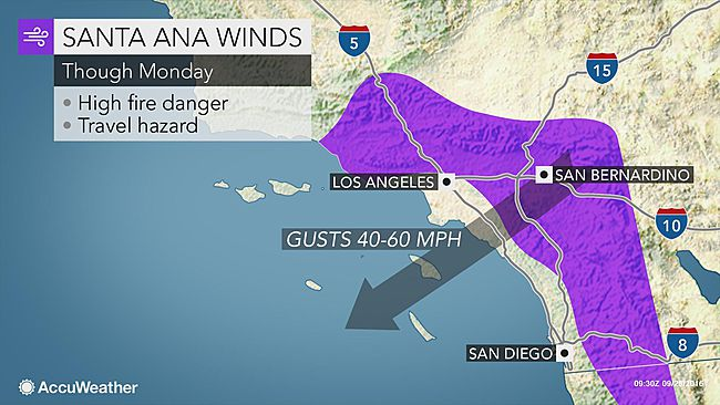 Santa Ana winds, heat to raise wildfire threat across Southern California through Monday