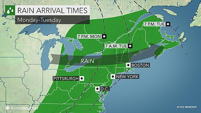 Rounds of rain to frequent northeastern US this week