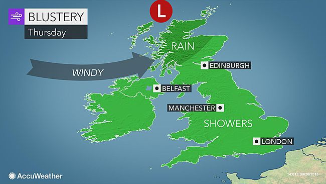 Strong storm to lash UK with rain and gusty winds later this week