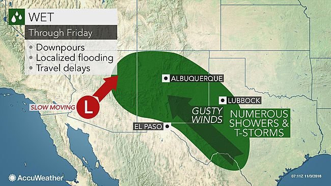 Gusty storms to threaten southwestern US with localized flooding
