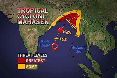 Image d'illustration pour Tour d'horizon météo et suivi cyclonique (Mahasen) dans le monde