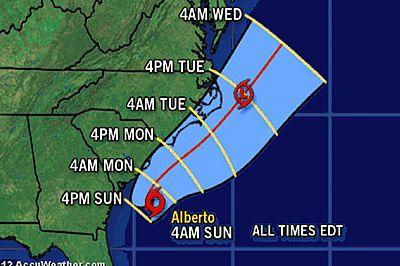 La traiettoria prevista della tempesta tropicale Alberto.